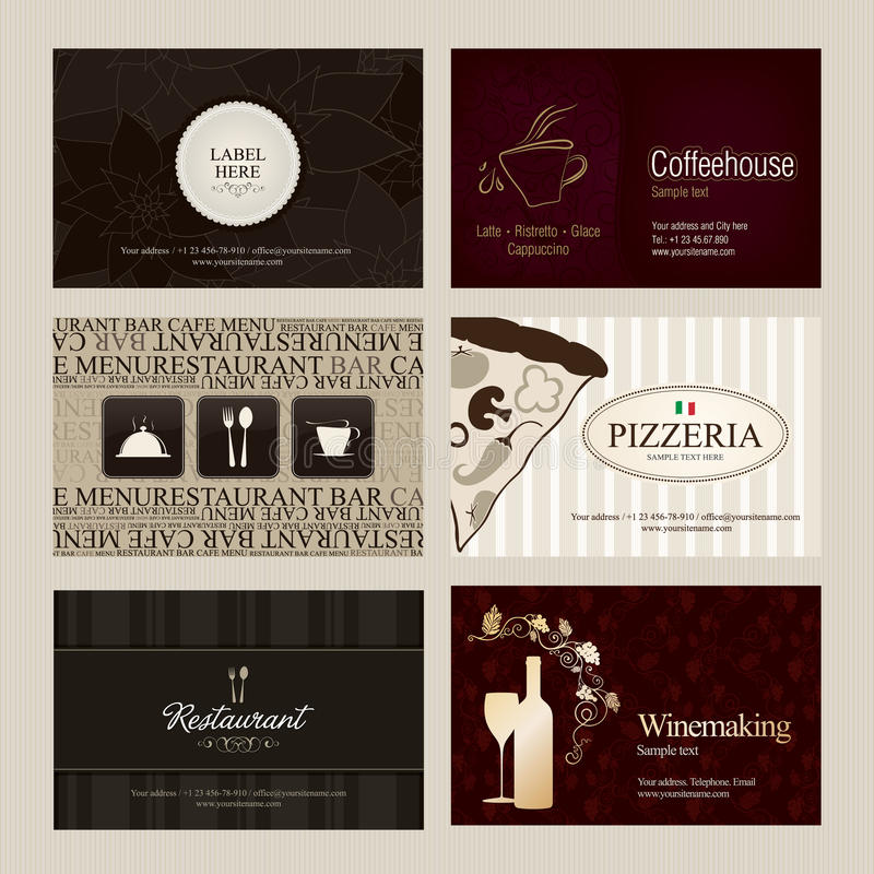 Business cards. Set of 6 detailed business cards. For cafe and restaurant vector illustration
