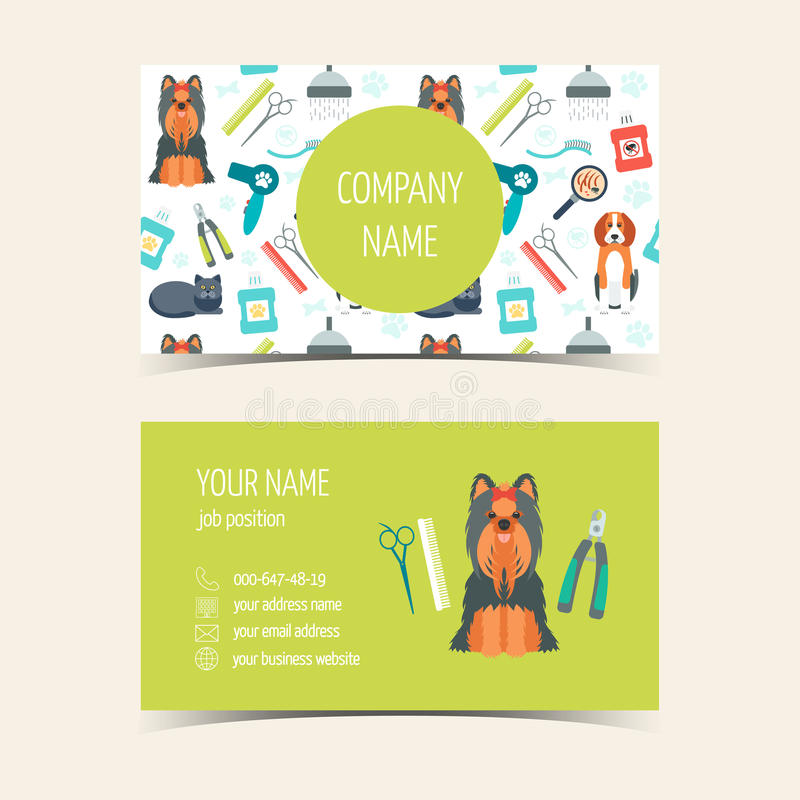 Business Cards For Animal Grooming. Promotional Products. Flat ...