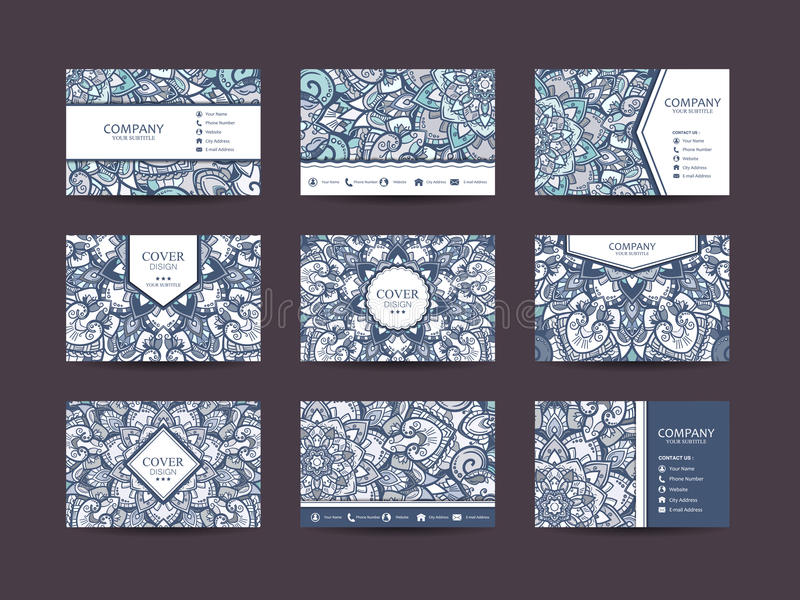 Business cards big set. Vector vintage design Floral mandala pattern and ornaments. Oriental design Layout. Islam, Arabic, Indian, ottoman motifs. Front page royalty free illustration