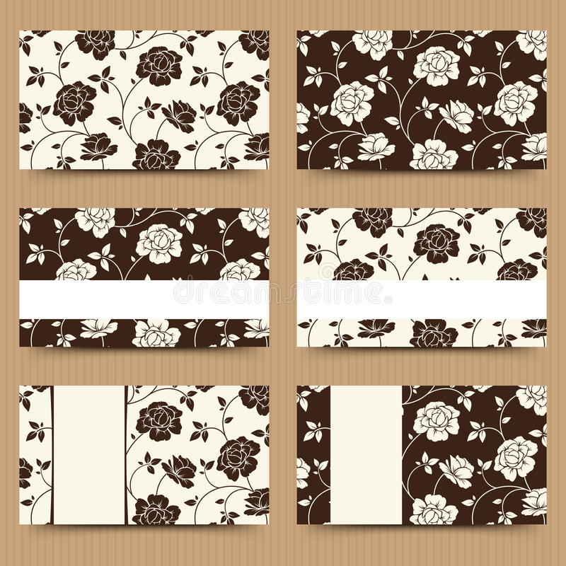 Business cards with brown and white floral pattern. Vector illustration. royalty free illustration