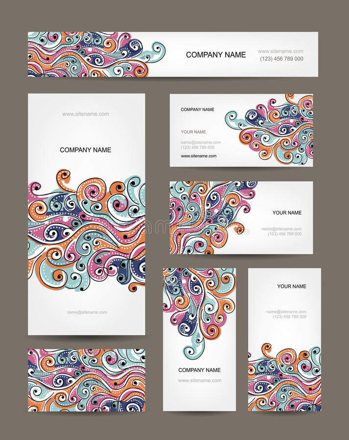 Business cards collection, abstract waves design vector illustration