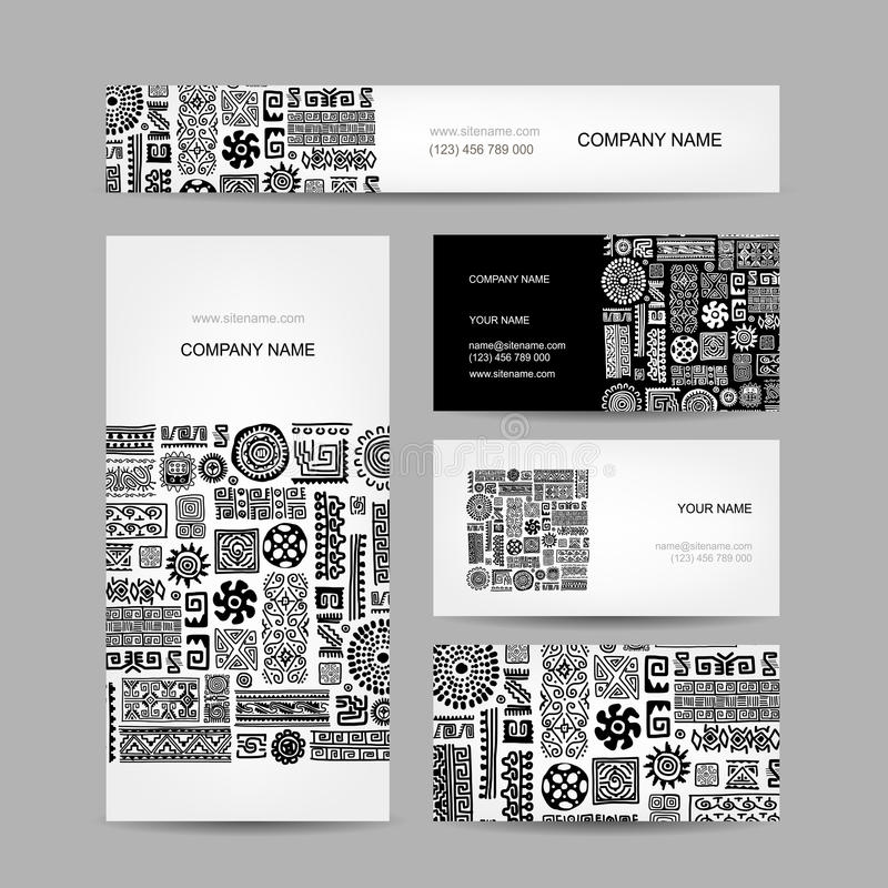 Business cards collection, ethnic ornament for royalty free illustration