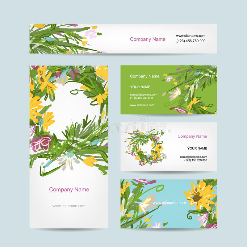 Business cards collection, floral wreath design vector illustration