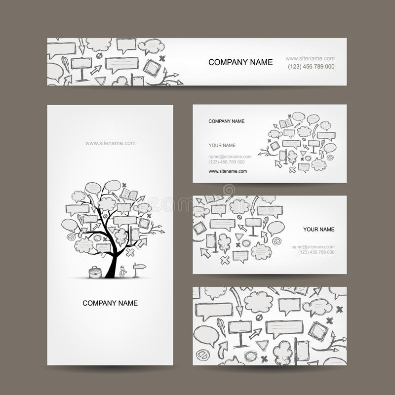 Business cards collection with frames tree design vector illustration