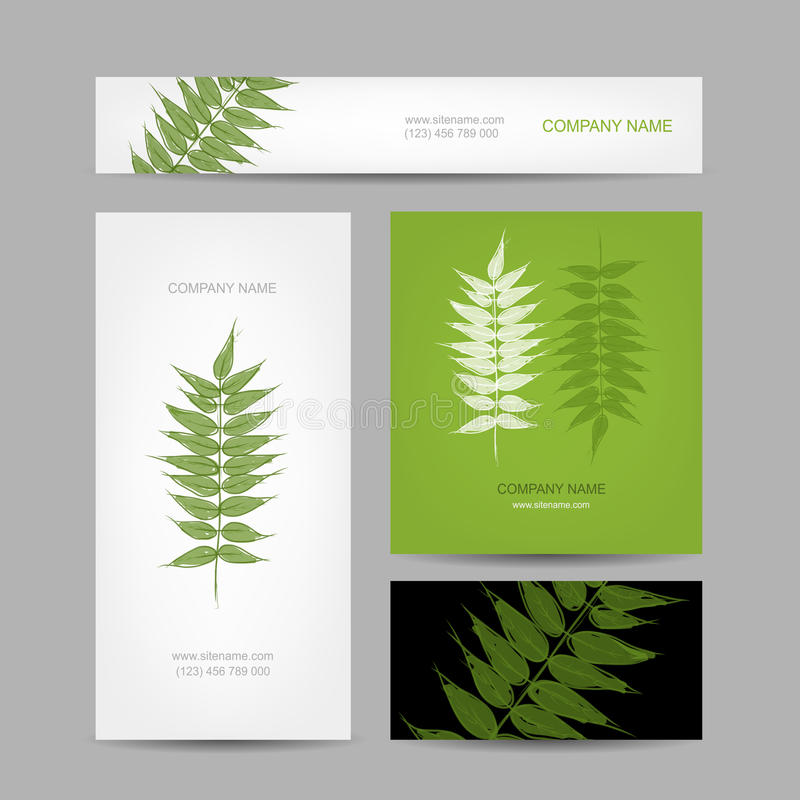 Business Cards Collection, Green Leaf Design Stock Vector ...