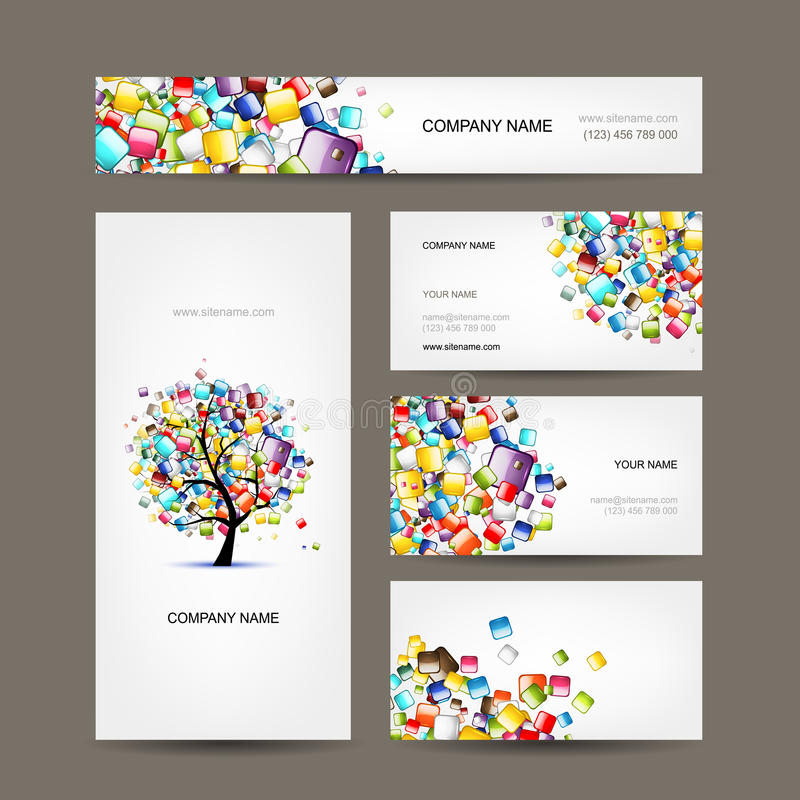 Business cards collection with web tree design. This is file of EPS10 format stock illustration