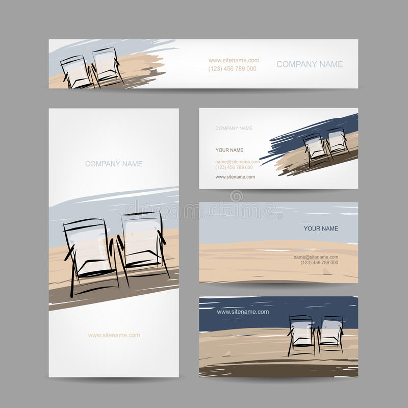 Business cards design, chairs on the beach stock illustration
