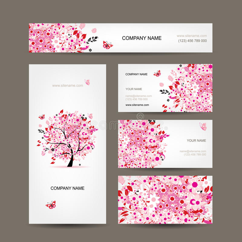 Business cards design with floral tree pink stock illustration