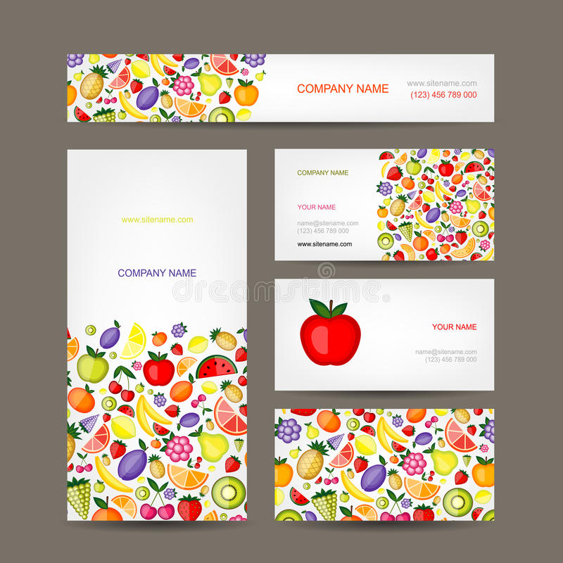 Business Cards Design, Fruit Background Stock Vector - Illustration ...