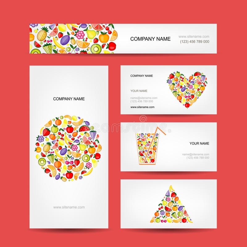 Business Cards Design, Fruit Collection Stock Vector - Illustration ...