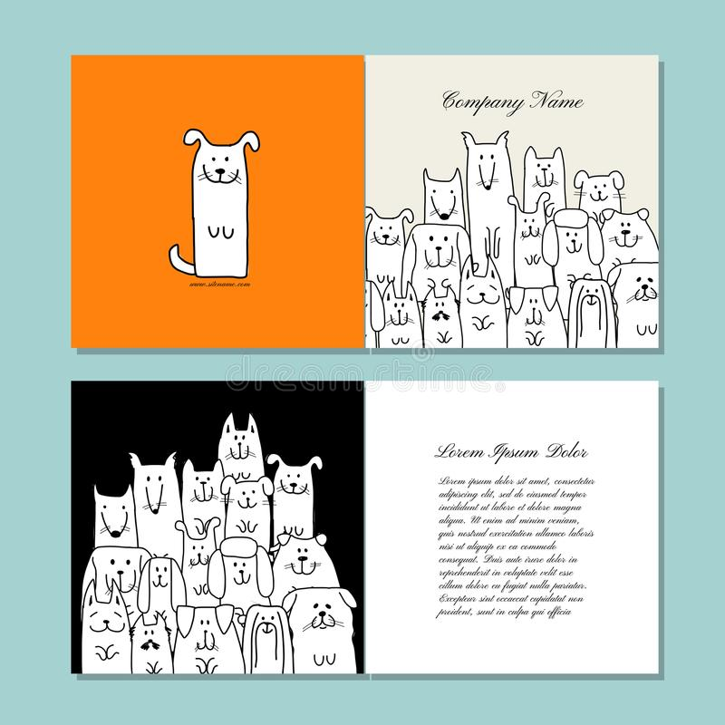 Business Cards Design, Funny Dogs Family Stock Vector - Illustration ...