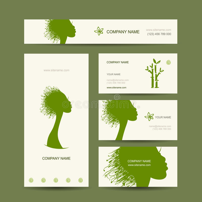 Business Cards Design, Organic Hair Care Concept Stock Vector ...