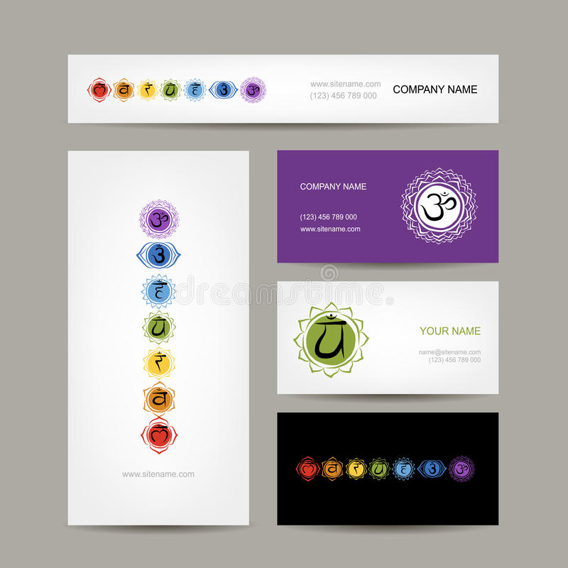 Business cards design, seven main chakras vector illustration
