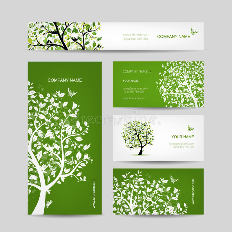 Download business cards design spring tree with birds stock vector illustration of decoration