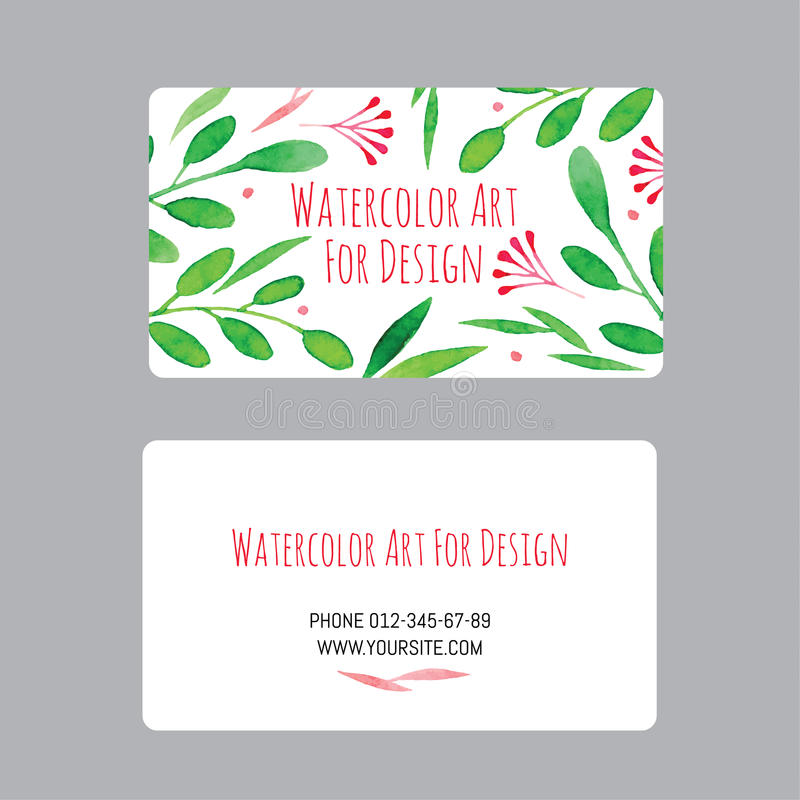 Business Cards Design Template With Watercolor Drawings Of Plants - Blank business card design template