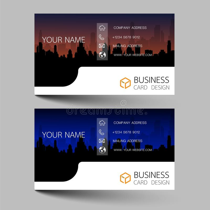 Business cards design two color on the gray background. Inspired by building structures. Contact cards for company. Vector illustr. Ation EPS10 royalty free illustration