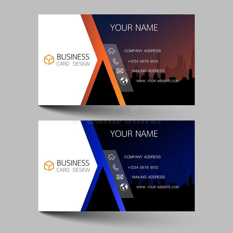 Business cards design two color on the gray background. Inspired by building structures. Contact cards for company. Vector illustr. Ation EPS10 stock illustration