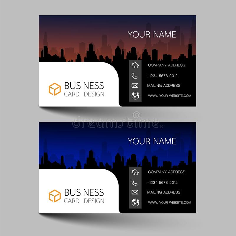 Business cards design two color on the gray background. Inspired by building structures. Contact cards for company. Vector illustr. Ation EPS10 vector illustration