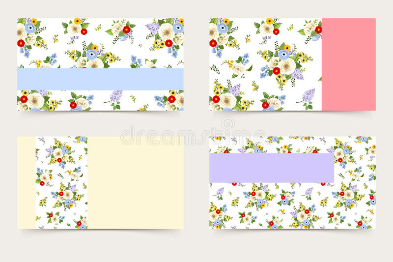 Business cards with flowers pattern. Vector illustration. royalty free illustration