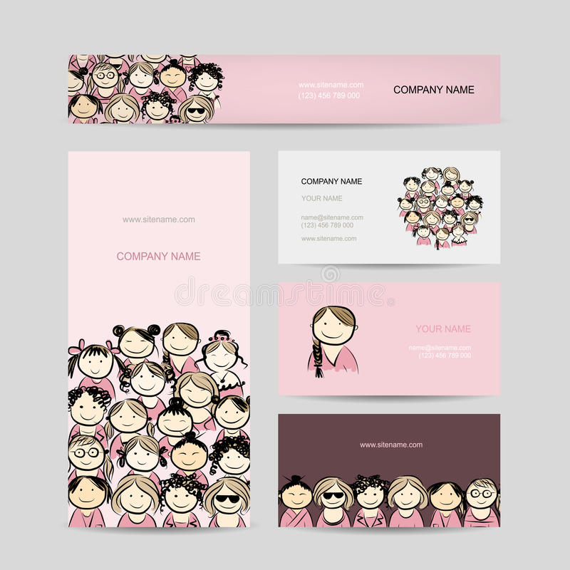 Business cards, group of women sketch royalty free illustration