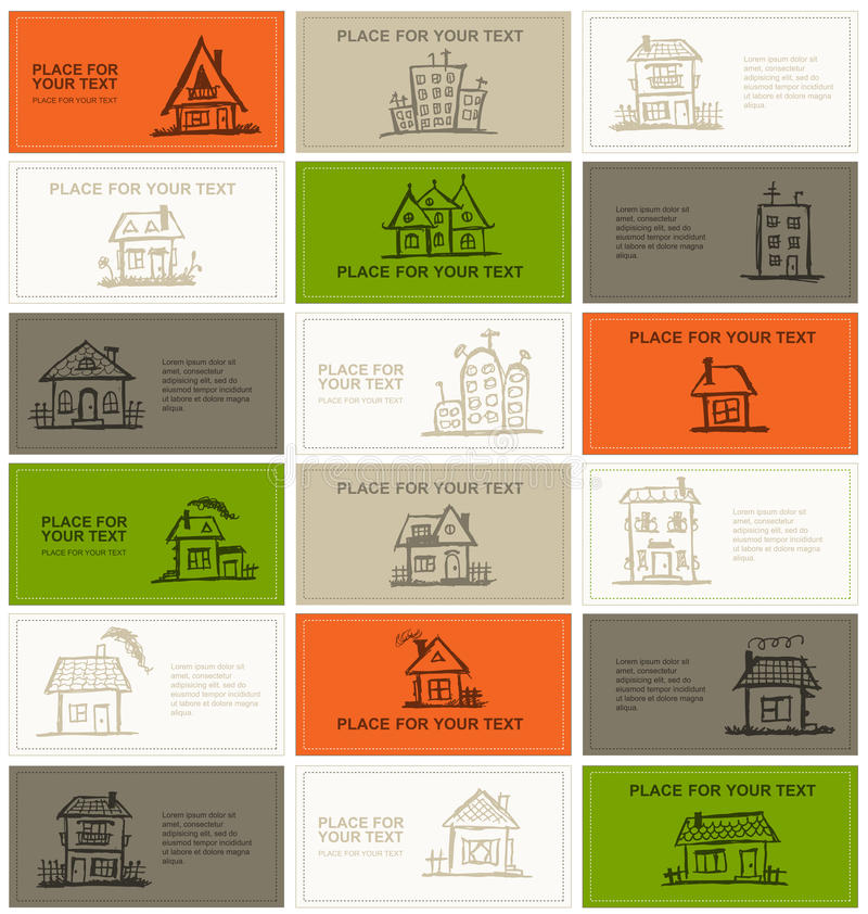 Business cards with houses for your design. Vector stock illustration