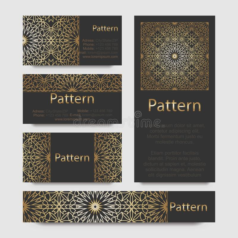 Business cards Islamic morocco ornament. Business cards pattern with Islamic morocco ornament. INCLUDES SEAMLESS PATTERN vector illustration