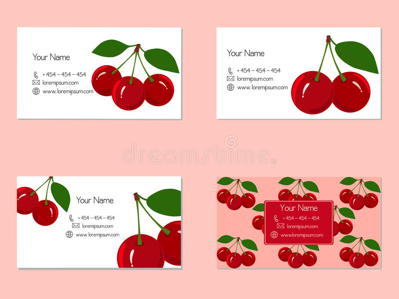 Business cards with juicy ripe cherry fruit stock vector design business cards with juicy cherry fruit for companies reheart Images