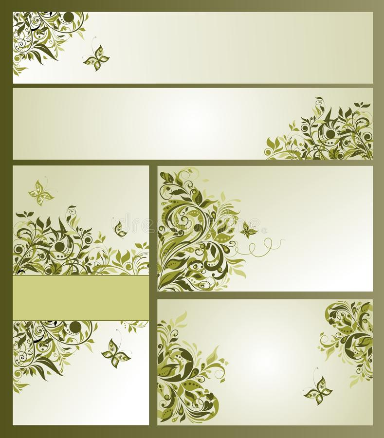 Business Cards With Olive Floral Design Stock Vector - Illustration ...