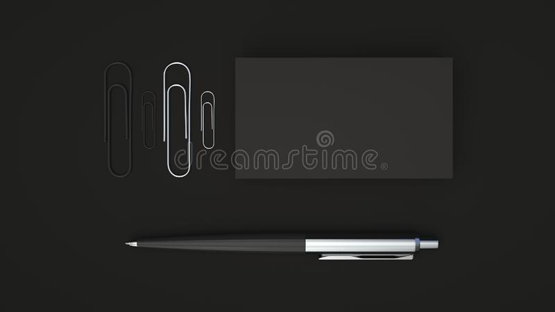 Business cards, paper clips and pen. Black business cards, paper clips and automatic ballpoint pen isolated on black background. Blank paper mockup. 3D rendering royalty free illustration