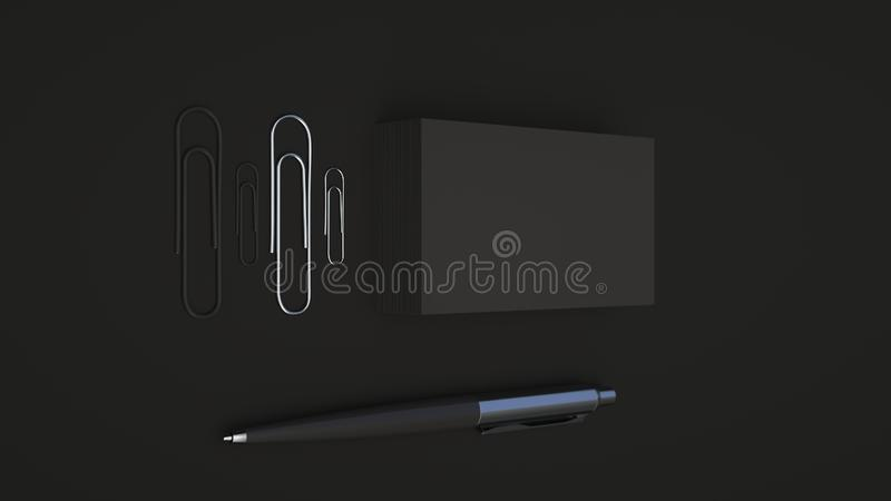 Business cards, paper clips and pen. Black business cards, paper clips and automatic ballpoint pen isolated on black background. Blank paper mockup. 3D rendering vector illustration