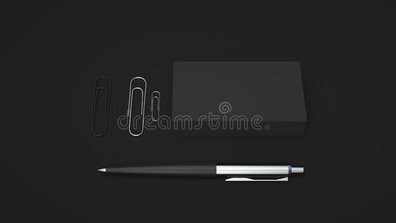 Business cards, paper clips and pen. Black business cards, paper clips and automatic ballpoint pen isolated on black background. Blank paper mockup. 3D rendering stock illustration