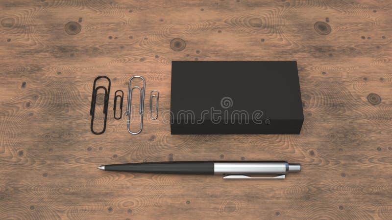 Business cards, paper clips and pen. Black business cards, paper clips and automatic ballpoint pen on wooden table. Blank paper mockup. 3D rendering illustration vector illustration
