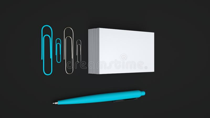 Business cards, paper clips and pen. White business cards, paper clips and blue automatic ballpoint pen isolated on black background. Blank paper mockup. 3D royalty free illustration