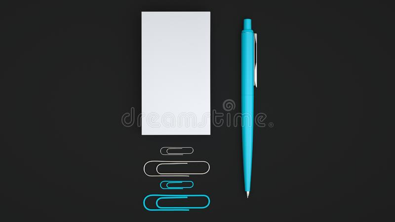 Business cards, paper clips and pen. White business cards, paper clips and blue automatic ballpoint pen isolated on black background. Blank paper mockup. 3D stock illustration