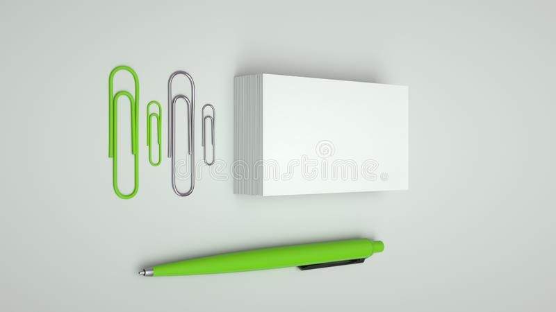 Business cards, paper clips and pen. White business cards, paper clips and green automatic ballpoint pen isolated on white background. Blank paper mockup. 3D vector illustration