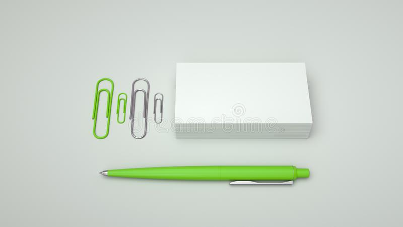 Business cards, paper clips and pen. White business cards, paper clips and green automatic ballpoint pen isolated on white background. Blank paper mockup. 3D stock illustration