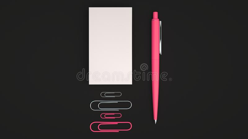 Business cards, paper clips and pen. White business cards, paper clips and red automatic ballpoint pen isolated on black background. Blank paper mockup. 3D vector illustration