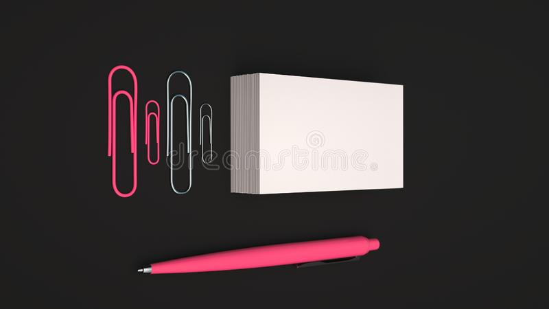 Business cards, paper clips and pen. White business cards, paper clips and red automatic ballpoint pen isolated on black background. Blank paper mockup. 3D royalty free illustration