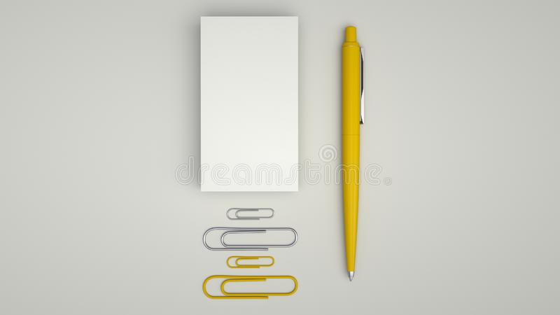 Business cards, paper clips and pen. White business cards, paper clips and yellow automatic ballpoint pen isolated on white background. Blank paper mockup. 3D stock illustration