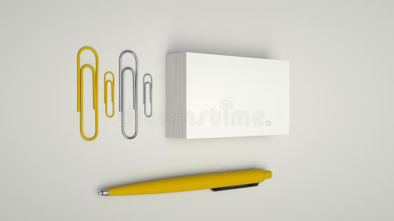 Business cards, paper clips and pen. White business cards, paper clips and yellow automatic ballpoint pen isolated on white background. Blank paper mockup. 3D royalty free illustration