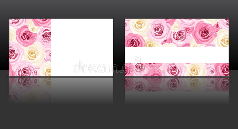 Business cards with pink and white roses patterns. Vector eps-10. royalty free illustration