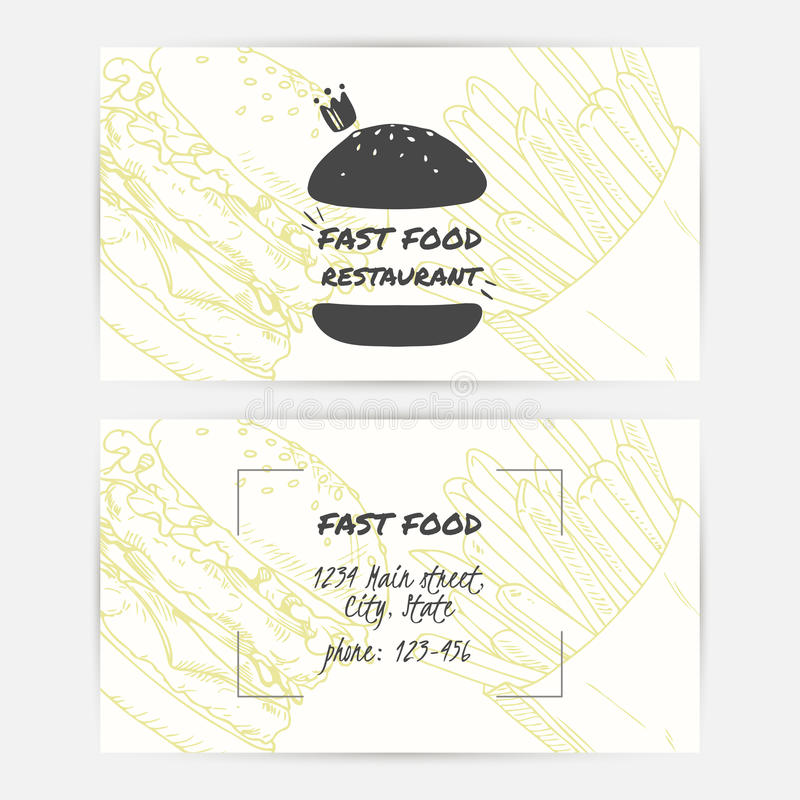 Business Cards Set With Handdrawn Fast Food And Place For Text ...