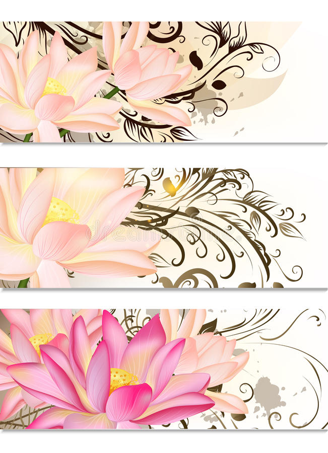 Business cards set with lotus flowers and swirl ornament stock download business cards set with lotus flowers and swirl ornament stock vector illustration of paper colourmoves