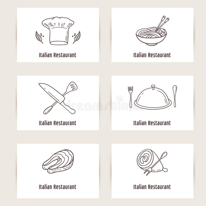 Business Cards Set With Outline Style Doodle Food. Template For ...