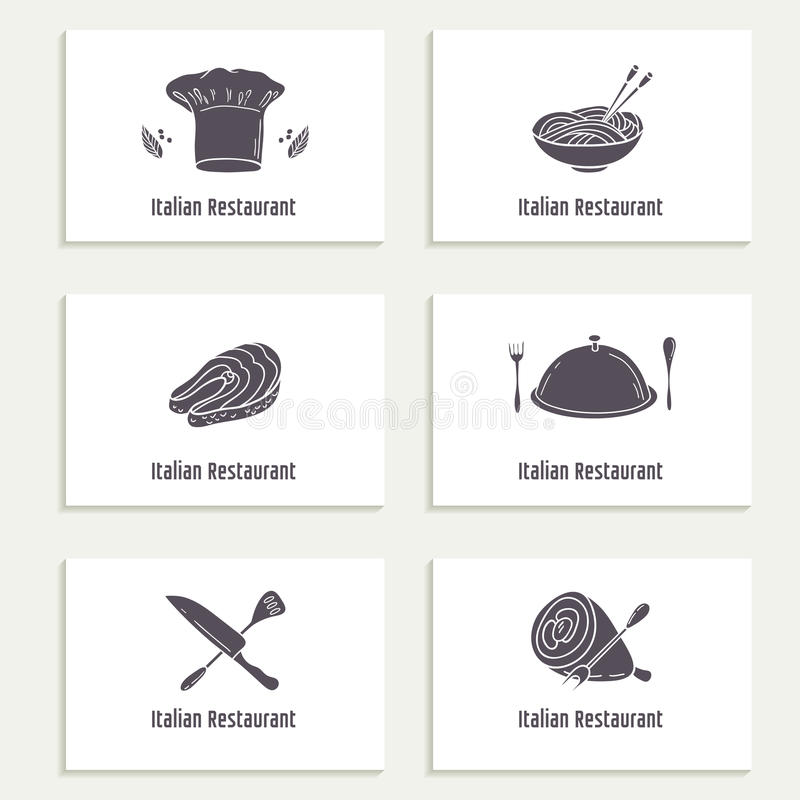 Business Cards Set With Outline Style Food Silhouette. Template For ...