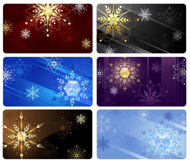 Business cards with snowflakes. Business cards with gold and crystal snowflakes on a dark background stock illustration