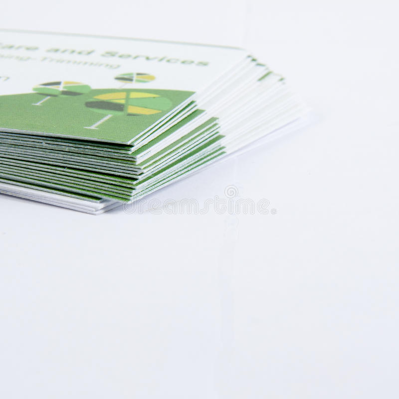 Business Cards. A stack of business cards isolated on white royalty free stock image