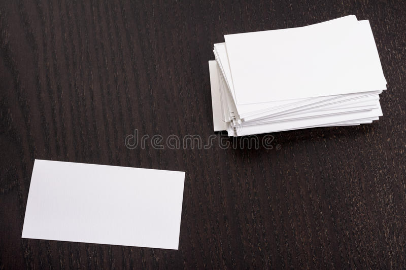 Business cards. In the table vector illustration