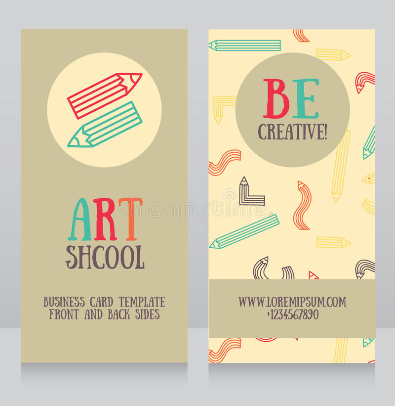 Business Cards Template For Art School Stock Vector - Image: 72479312