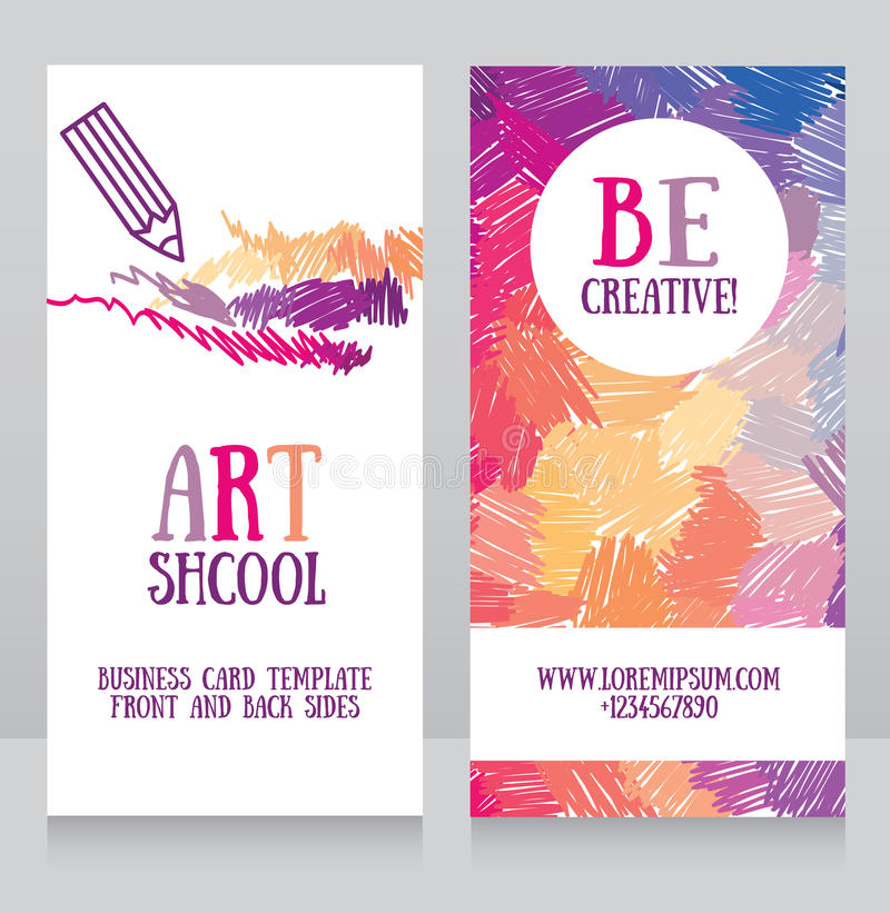 Business Cards Template For Art School Stock Vector - Illustration ...